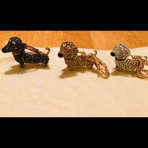 3 Crystal Dachshund Key Rings/Purse CharmsBoutique, used for sale